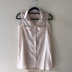 Cream semi sheer tank top blouse